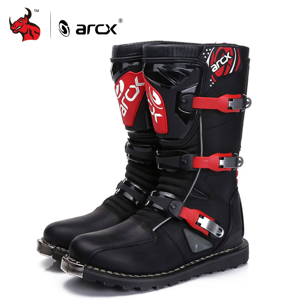 ARCX Motorcycle Boots Off-road Racing Shoes Men Leather Moto Boots Motocross Boots Street Moto Touring Riding Motorcycle Shoes f w k engineered garments бермуды