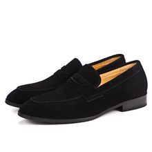 QYFCIOUFU New Brand Men's Suede Dress Shoes Genuine Leather Shoes High Quality Cow Leather Casual Luxury Business Slip On Shoes