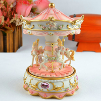High Quality Carousel Mini Music Box Pink and Blue 2 Colors Musical Boxes for Love Girl or Children Christmas Gift Free Shipping