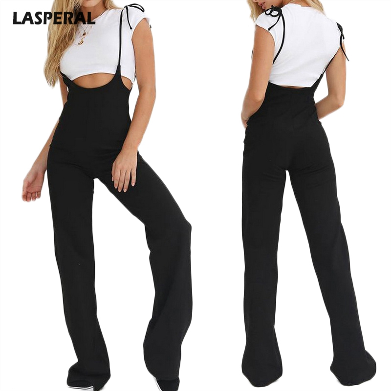 91423cef78e LASPERAL Casual High Waist Solid Overalls Sexy Long Lace Up Spaghetti Strap Women  Pants Female Overalls