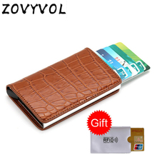 ZOVYVOL Men Aluminum Wallet With Back Pocket ID Card Holder RFID Blocking Mini Slim Metal Automatic Pop up Credit