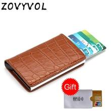 ZOVYVOL Men Aluminum Wallet With Back Pocket ID Card Holder RFID Blocking Mini Slim Metal Automatic Pop up Credit