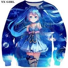 YX Girl Womens Casual Lovely Printed Sweatshirts Hatsune Miku Printing 3d Sweatshirt for Women Autumn Pullover Streetwear