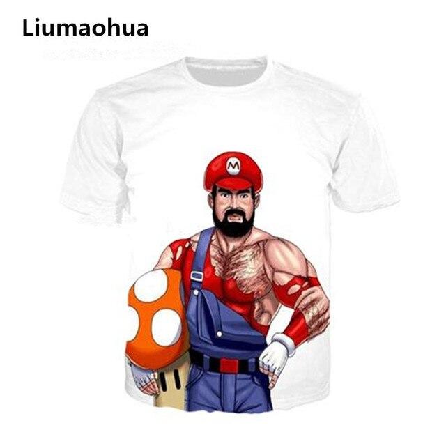 640ab1c19 Liumaohua Nova Moda verão estilo Super Mario Bros 3d t camisa  homens mulheres casual camiseta