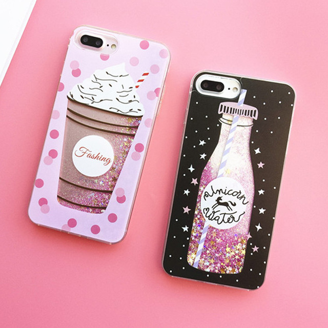 Liquid Moving Stars Glitter Floating Quicksand Case For coque iPhone 6 S 6s  7 8 Plus Bling Sequin Icecream Bottle Phone Cover 6cac389619f2