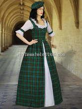 Scottish Tartan Two Piece Traditional Costume Handmade in Red/Green Tartan Plaid Period Costumes