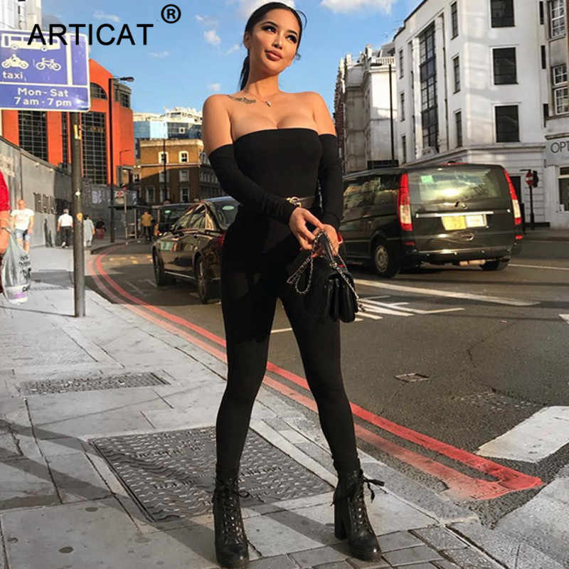 Articat сексуальный комбинезон с длинными рукавами и открытыми плечами для женщин обтягивающий комбинезон для женщин s комбинезон 2018 осенне-зимний комбинезон