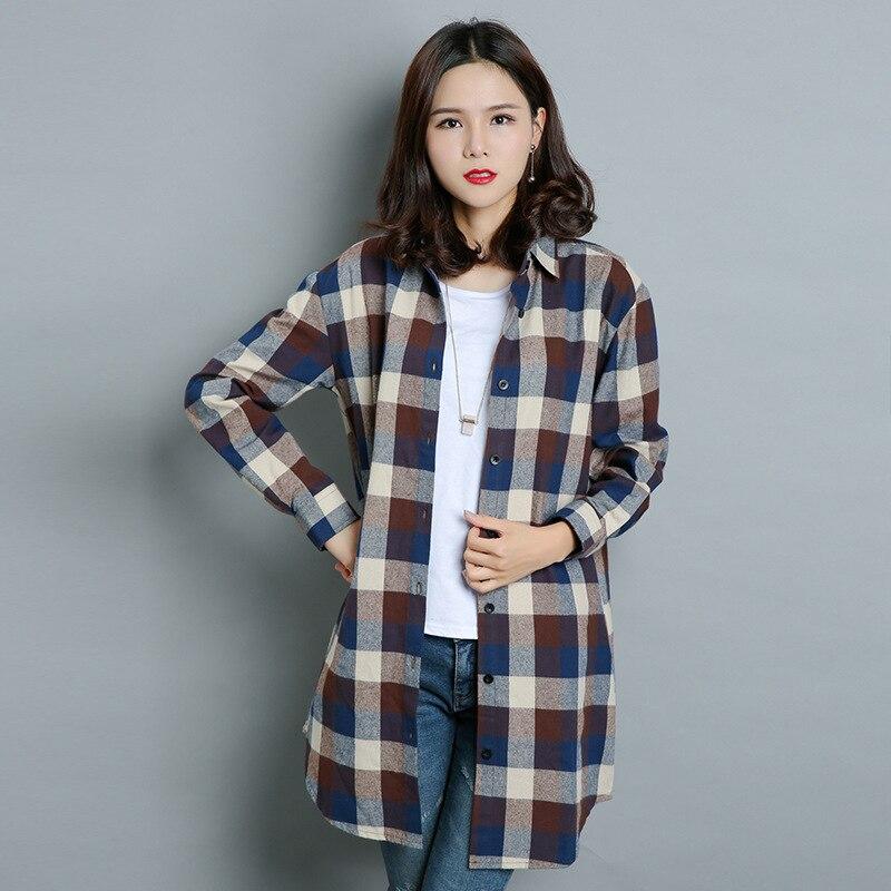 2017 Primavera Y Otoño Nueva Moda Femenina Abrigo de Tela Escocesa del Enrejado