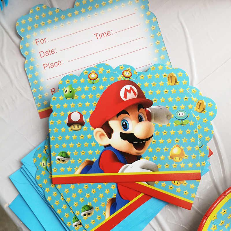 Tema de Súper Mario vajilla de decoración de fiesta platos y vasos de papel sombreros Mario Bros Baby Shower globos niños cumpleaños fiesta suministros