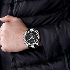 Image 4 - MEGIR אופנה גברים של הכרונוגרף קוורץ שעונים עור רצועת זוהר ידיים 24 שעה ספורט אנלוגי שעוני יד לגבר 2076 לבן