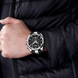 Image 4 - MEGIR Fashion Mens Chronograph Quartz Watches Leather Strap Luminous Hands 24 hour Sports Analogue Wristwatch for Man 2076White