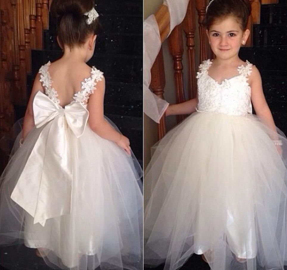 Dresses For Flower Girls For Weddings: Bow Knot Cute Flower Girls Dresses For Weddings 2016 Ball