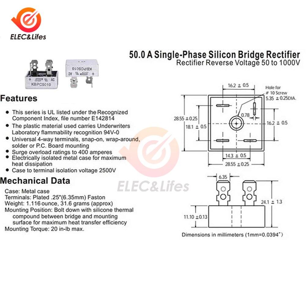 2 шт. KBPC5010 диодный мостовой выпрямитель диод 50А 1000 В kбпц 5010 силовой выпрямительный диод электронные компоненты