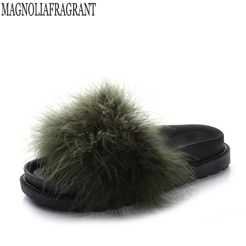 Slippers Womens Zapatos Mujer Ladies Sliders Fluffy Ostrich feather Fur Flat New Female Casual Home Slipper Flip Flop Autumn faux ostrich feather fur nipple covers