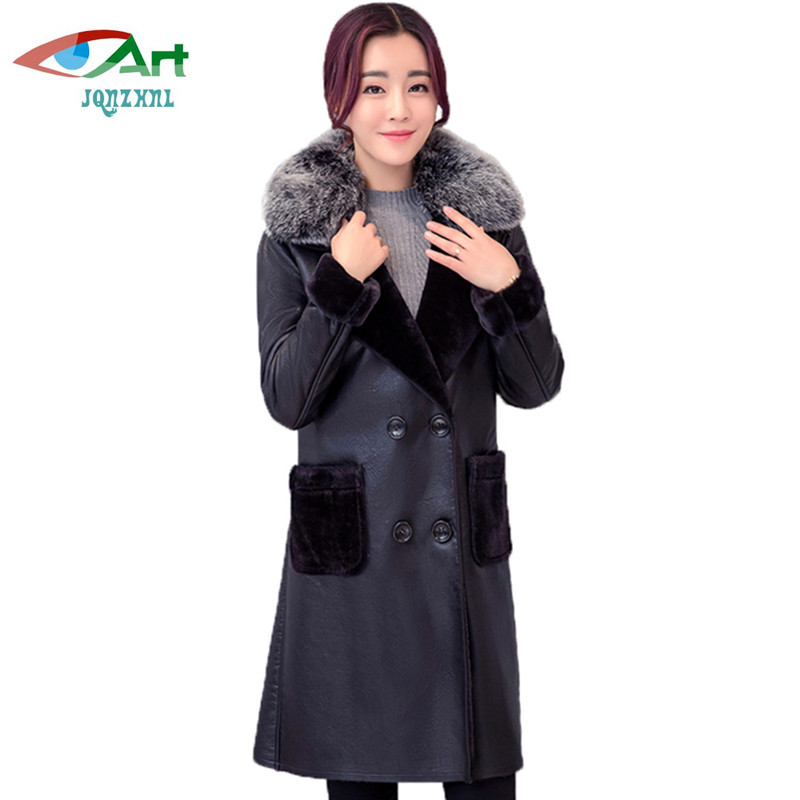 af5fe318569 Online Shop Winter women leather coat long loose large size thick warm leather  jacket coat fashion fur collar women coat Plus size 6XL AS428