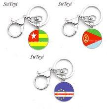 Eritreia e togo e cabo verde bandeira nacional arte imagem de vidro metal chaveiro do vintage moda masculino chaveiro titular do anel para o carro
