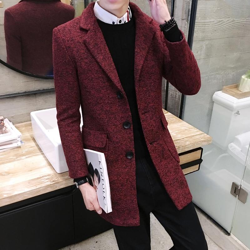 2019 Winter Self-cultivation In The Long Trench Men , Coat Wild It Windbreaker, Christmas Men Gifts, Solid Color Wool Coat Male