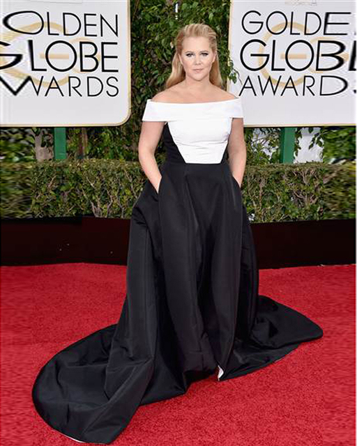 Amy Schumer White And Black Dresses 2017 Golden Globes Pockets Boat