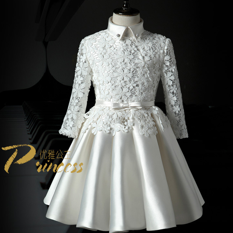 Фотография BRWCF Princess Style Baby Girls Wedding Full Dress Long Sleeve Girls Costumes for Baby Important Time Girls Prom Free Shipping