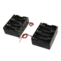 CES-2 Pcs Black Plastic Battery Holder Case 10 x 1.5V AA