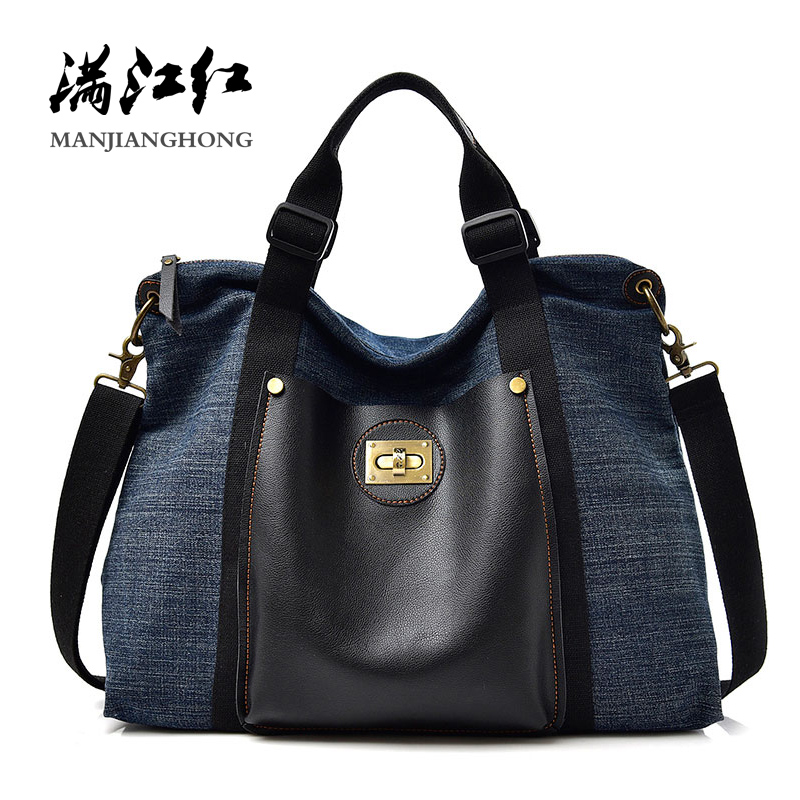 New Fashion Denim Women Shoulder Bag Handbag Large Capacity Casual Female Tote Bag Cloth Messenger Crossbody Bags For Women 9002