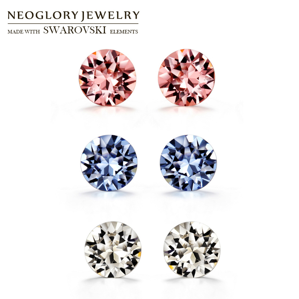 Neoglory Austria Rhinestone & S925 Silver Plated Stud Earrings Exquisite Colorful Round Design Allergy Free Elegant Women Sale pair of chic colorful rhinestone floral stud earrings for women