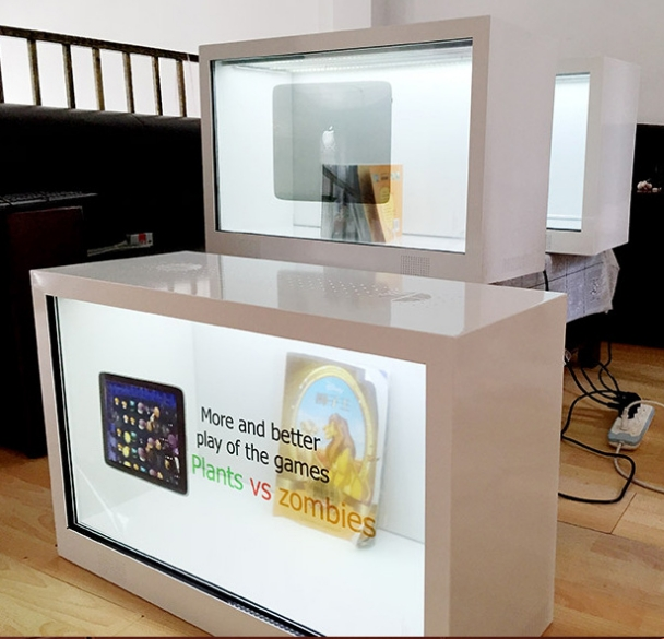 Shopping Mall Touch Interactive LCD Transparent Digital Advertising Kiosk With PC Computer Built In