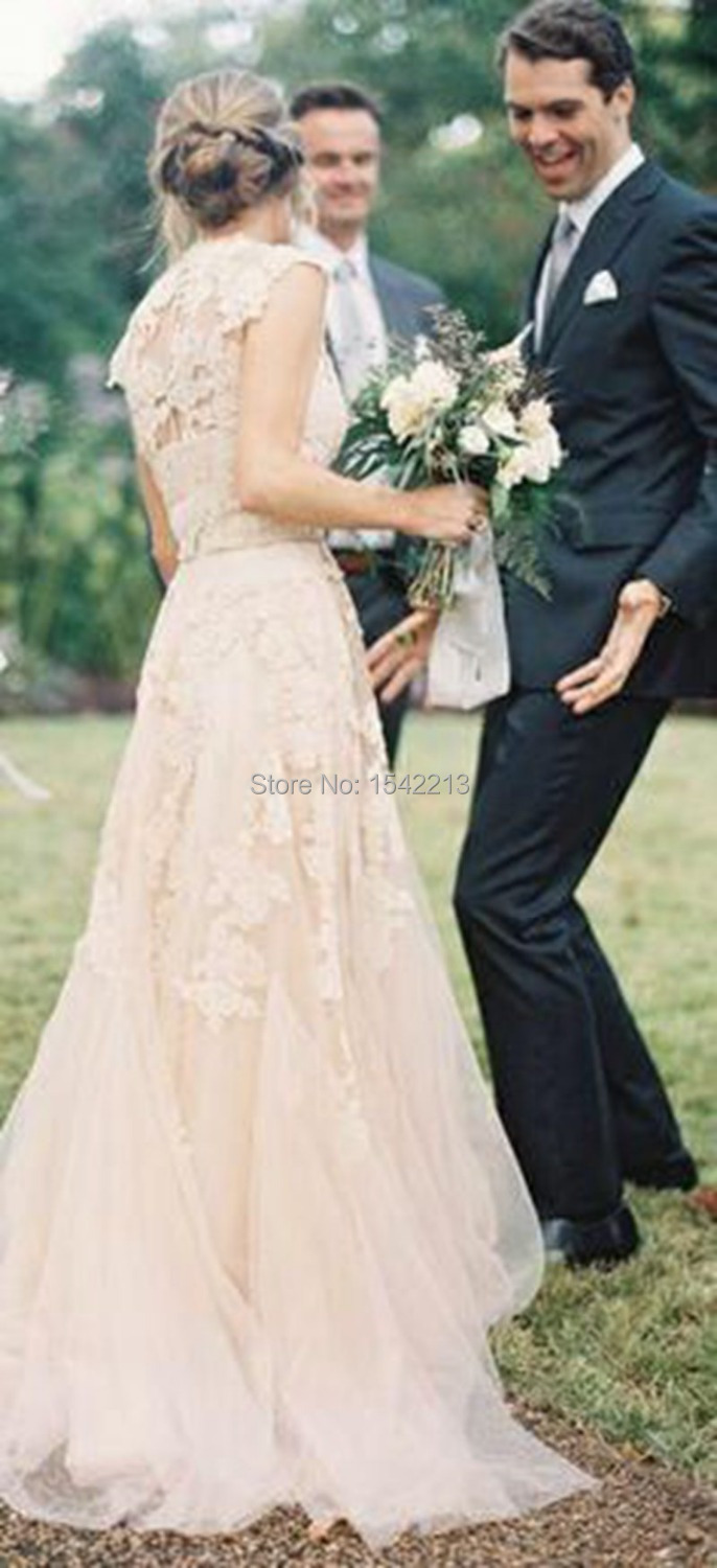 Blush Lace Wedding Dresses 2017 A Line Bridal Gowns Vintage Country Garden In From Weddings Events On