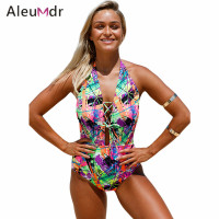 Aleumdr Lace Up Halter One Piece Swimsuit LC410205