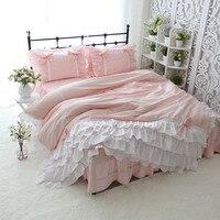 Super romantic princess bedding set cake layers ruffle duvet cover elegant bed sheet set sweet bow design pink bedding king size
