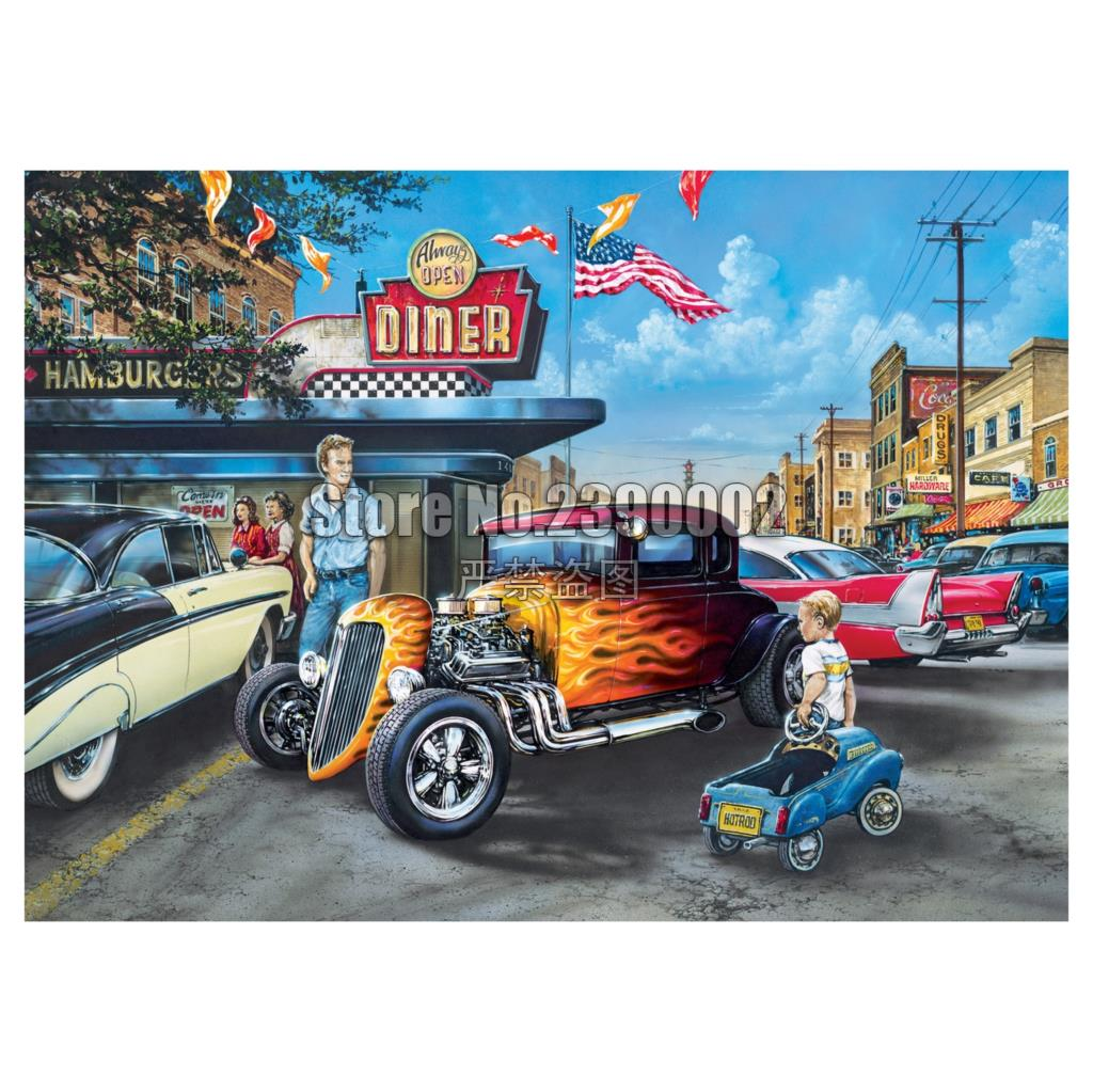 Diy Diamond Painting Hot Rods and Milkshakes Cross Stitch Embroidery Wall Sticker Diamond Mosaic Cars Christmas Painting Crafts in Diamond Painting Cross Stitch from Home Garden