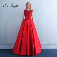 It's YiiYa Red Sleeveless O Neck A line Floor Length Lace Up Formal Dresses Vintage Backless E Evening Dress LX160