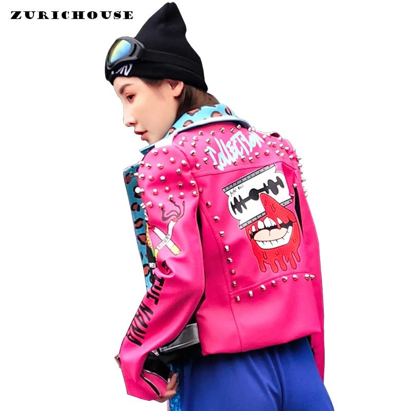High Fashion Design Leopard Print Rivet Leather Jacket Women Biker Coat 2019 New Arrival Spring Fun Graffiti Faux Leather Jacket