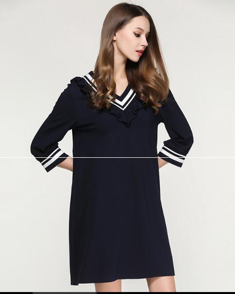 Femmes V Brève Manches 2017 Quarts Européenne De Marine Bleu Style Col Robes Trois Automne Printemps EcEHqFKgR