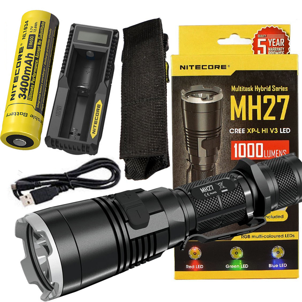 LED Outdoor Flashlight NITECORE MH27 Multitask Torch max.1000LM beam distance 462meter Tactical light + 18650 battery + charger nitecore flashlight p30 cree xp l hi v3 led max 1000lm beam distance 618 meter led outdoor torch search light 2300mah battery
