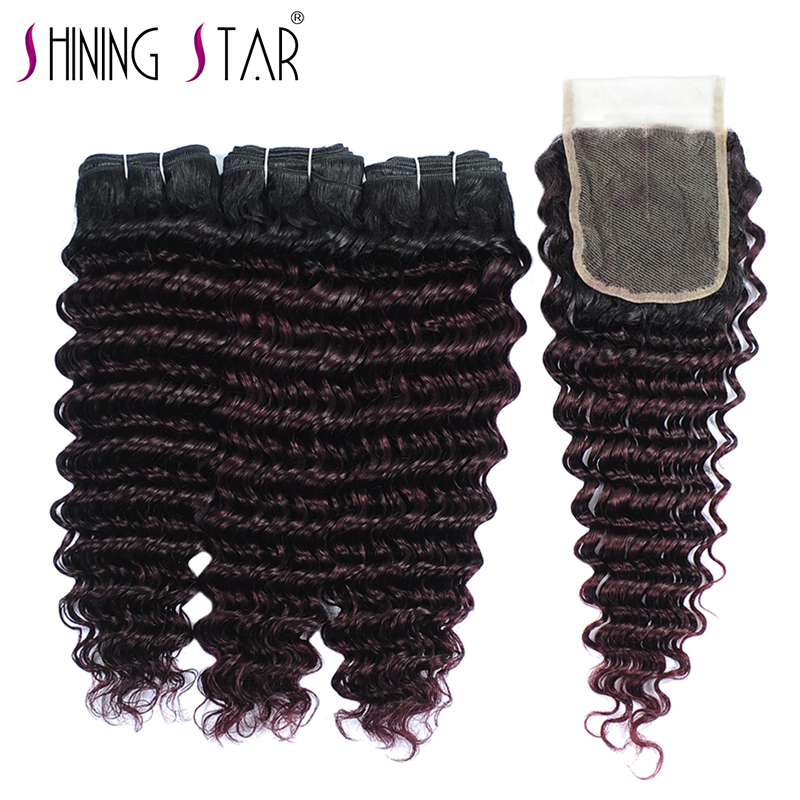 Shining Star Deep Wave Ombre Burgundy Dark Red Peruvian Human Hair Weave Deep Curly Bundles With