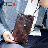 AETOO Retro handmade set double pull leather leather men's female models anti theft buckle clip large capacity clutch
