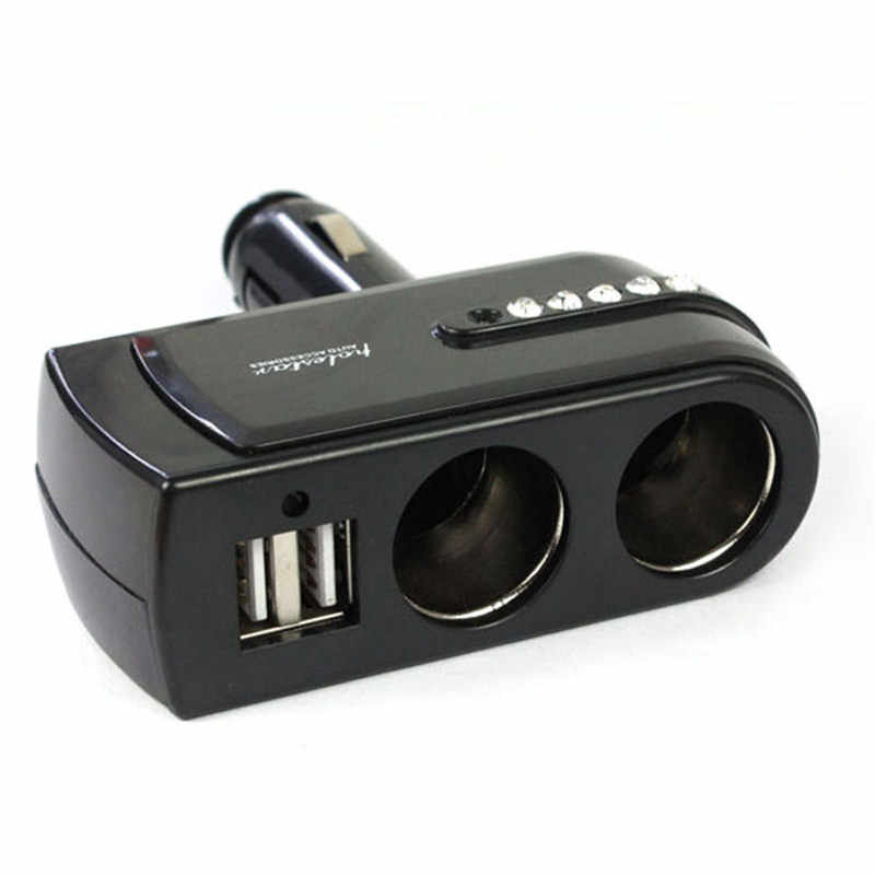 Car Cigarette Lighter New 2 USB Charger Supply + Double Sockets Car Cigarette Lighter Extender Splitter d2