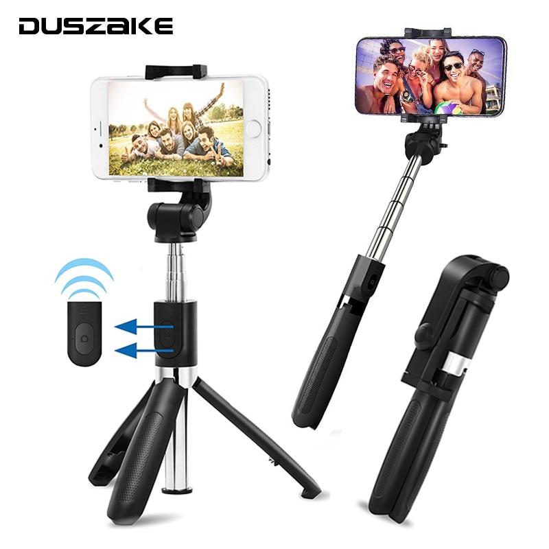 DUSZAKE Selfie Stick Bluetooth Tripod For Xiaomi Wireless Monopod For Phone Mini Selfie Stick Bluetooth Tripod For iPhone Xiaomi штатив monopod z07 5 bluetooth black for selfie