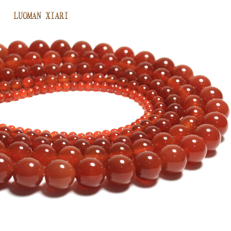 Wholesale Natural Stone Beads Red Round Onyx Diy Necklace Bracelets For Jewelry Making For Beadwork 4/6/8/10/12mm Special Summer Sale Jewelry & Accessories