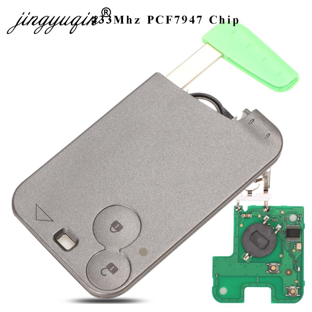 jingyuqin 5pcs lot Keyless Smart Card Remote Key for Renault Laguna Espace PCF7947 Chip 433Mhz 2