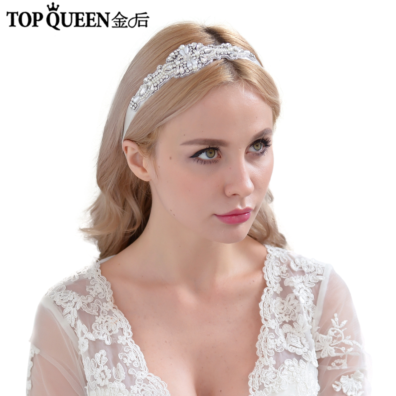 TOPQUEEN  Elegant Bridal Headbands Wedding Hair Accessories With Diamond And Pearl Bridal Headpieces Fast Shipping Stock H29