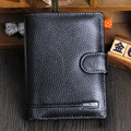 100% Cowhide wallets Large Capacity Men's Purses genuine leather wallet for men Passport Holder purse man carteira Free shipping