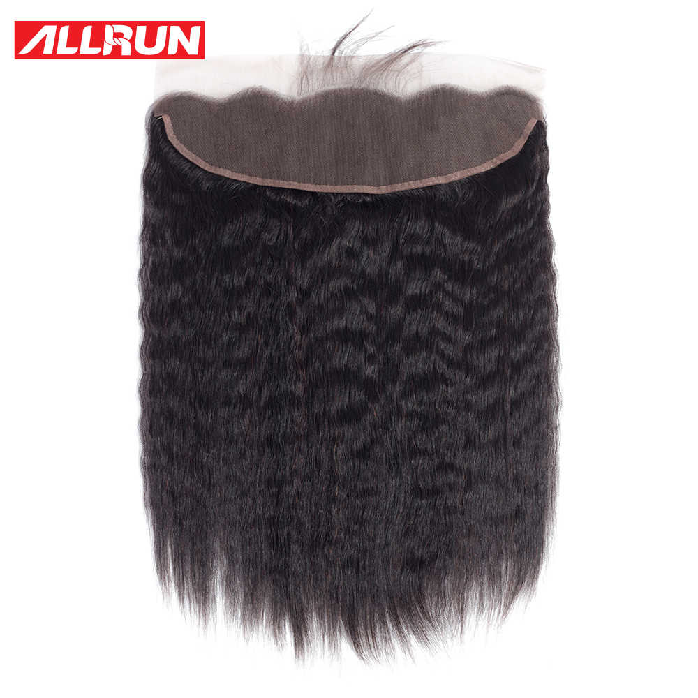 Allrun Brazilian Kinky Straight 13*4 Lace Frontal Closure With Baby Hair Pre-Plucked Non Remy Human Hair Ear to Ear Lace Closure