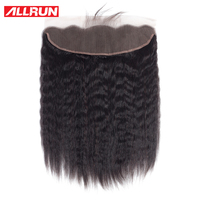 Allrun Brazilian Kinky Straight 13*4 Lace Frontal Closure With Baby Hair Pre Plucked Non Remy Human Hair Ear to Ear Lace Closure