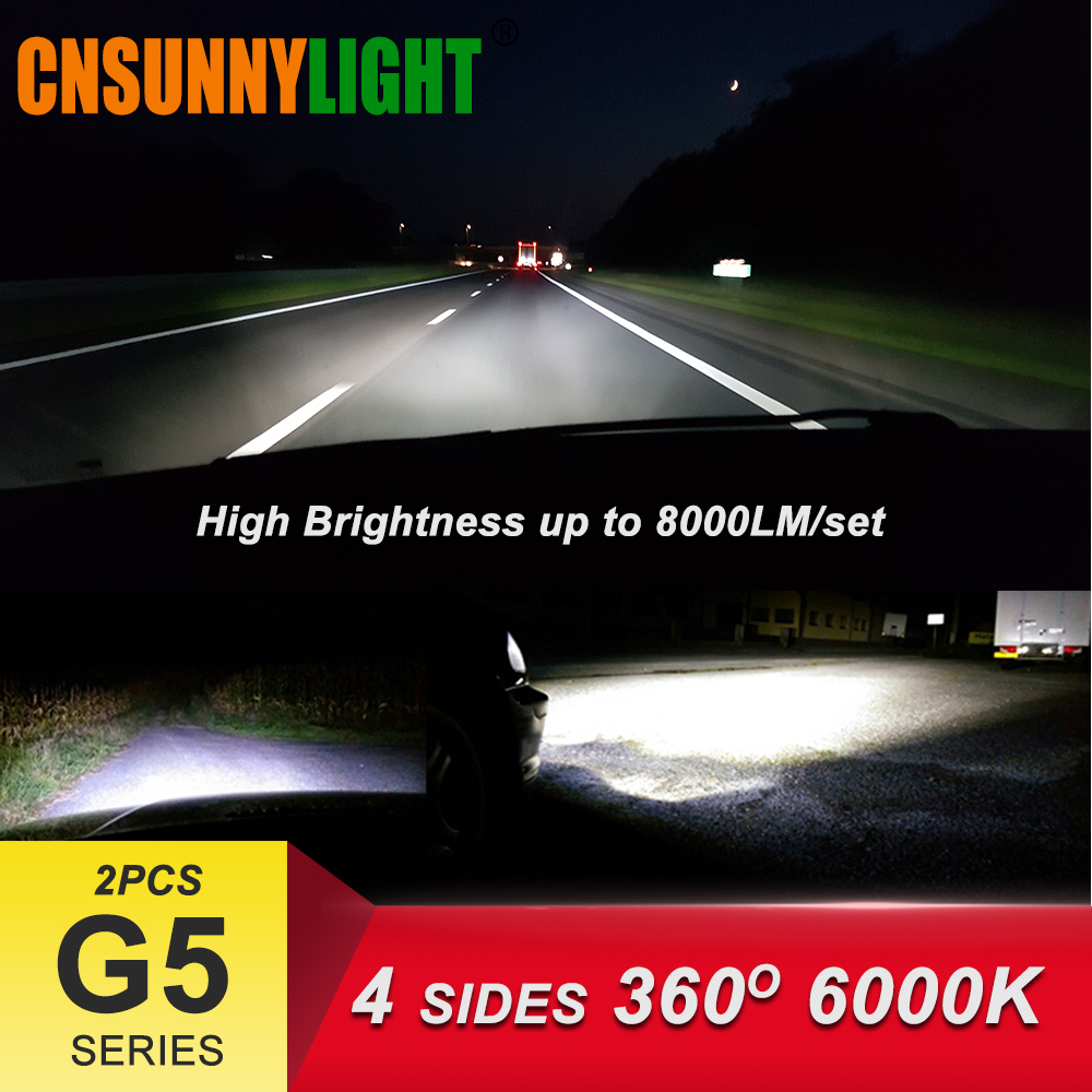 LED H4 H7 H11 9006HB4 9005HB3 COB Car Headlight Bulbs 80W 8000Lm DC 12V 360 Degree Fog Light Sourcing 3000K 5000K 6000K 8000K (04)8000Lm