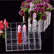 2017 Transparent Acrylic Lipstick display stand Clear Lip Gloss Nail Polish Makeup Cosmetic 24 Stand Display Rack Holder Case(China)