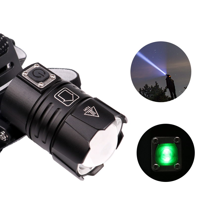 Image 4 - KZ20 Dropshiping 100000LM LED Headlamp XHP70.2 Power Headlight 3 Modes Telescopic Rechargeable Zoom Torch Waterproof Hunting-in Headlamps from Lights & Lighting