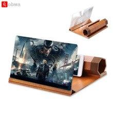 """1"""" 3D HD Мобильный увеличитель для экрана телефона анти-радиационный увеличитель экрана держатель с деревянным зерном кронштейн Складная подставка для телефона"""