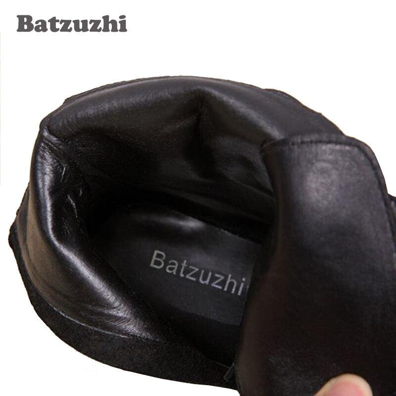 Batzuzhi Designer bout en métal noir haut en cuir hommes chaussures mode Zipper court bottine pour hommes chaussures brodées noir - 6